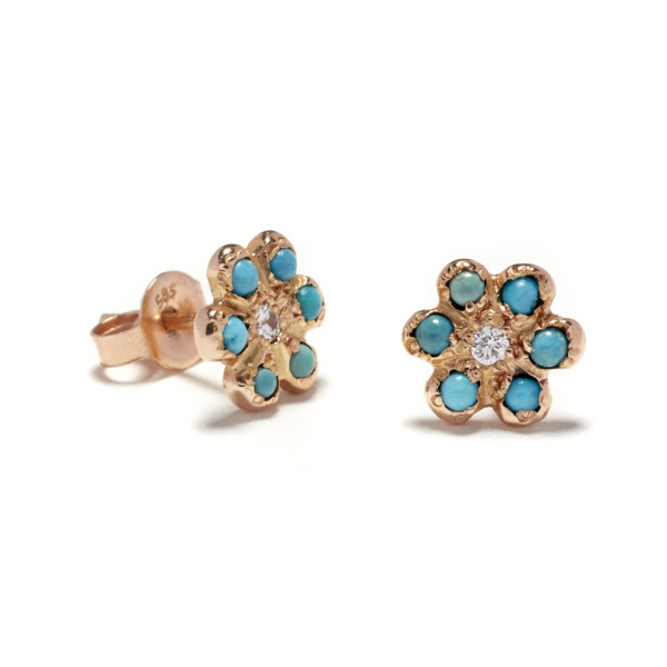 pink gold daisy studs