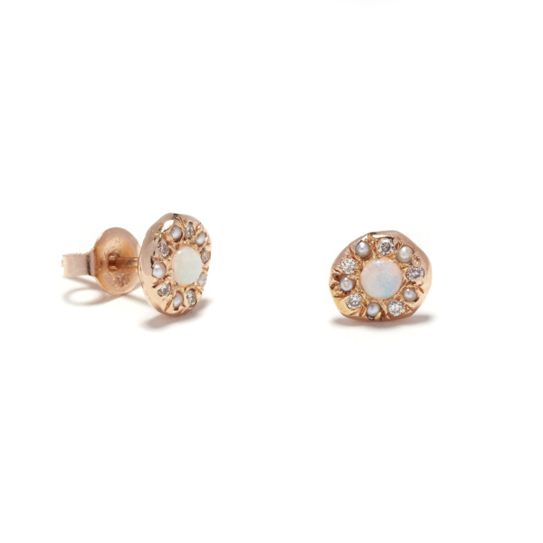 pink gold opal disk studs