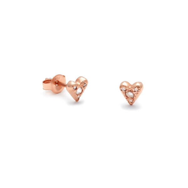 pink gold puff heart studs