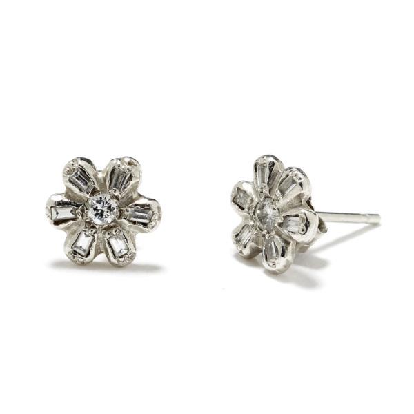 platinum daisy studs