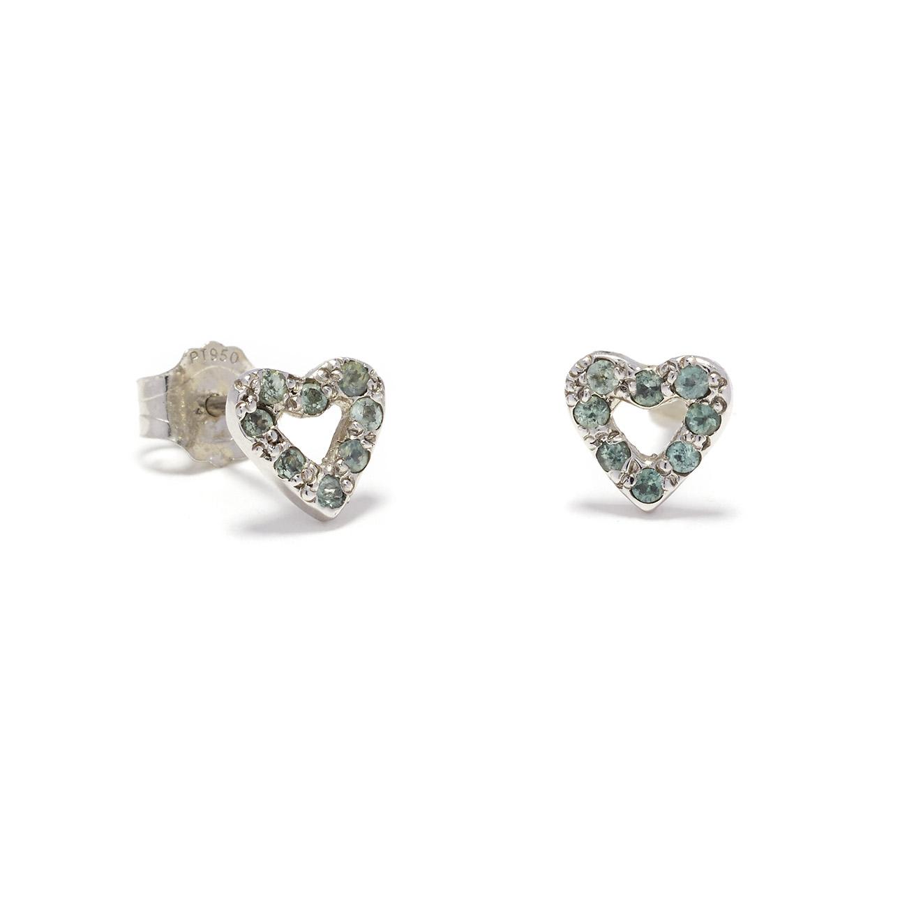platinum tiny open heart studs