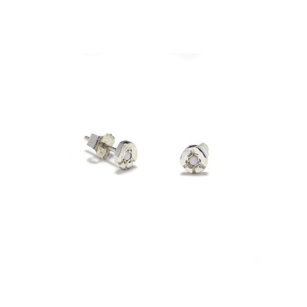 platinum tiny peace disk studs