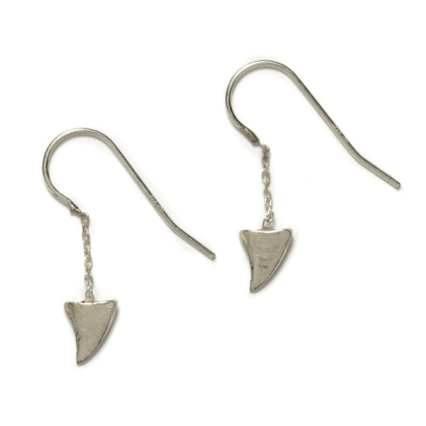 sterling silver baby shark tooth dangling earrings