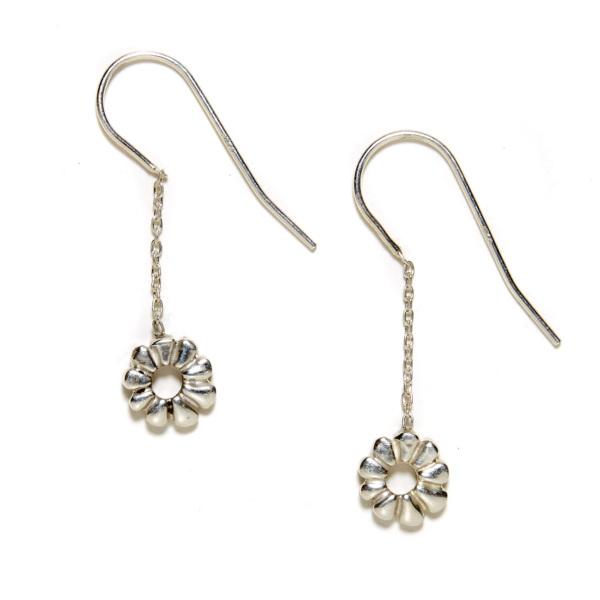 sterling silver flower child dangling earrings