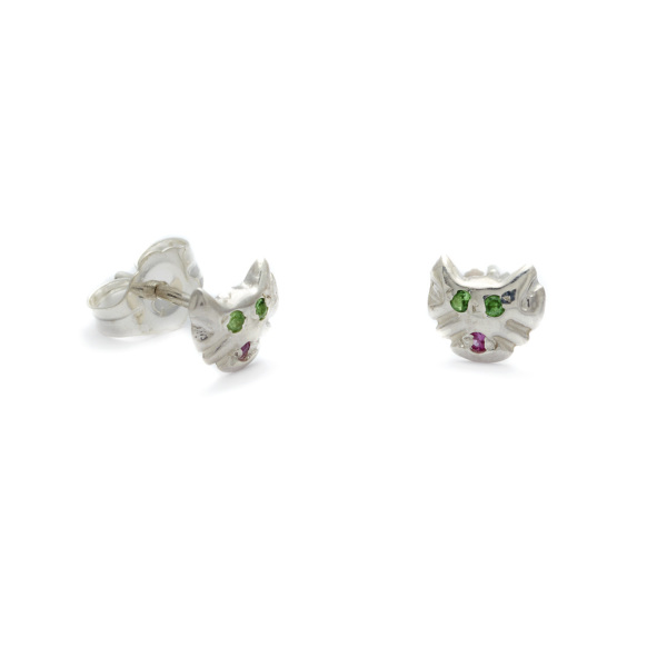 sterling silver kitten studs