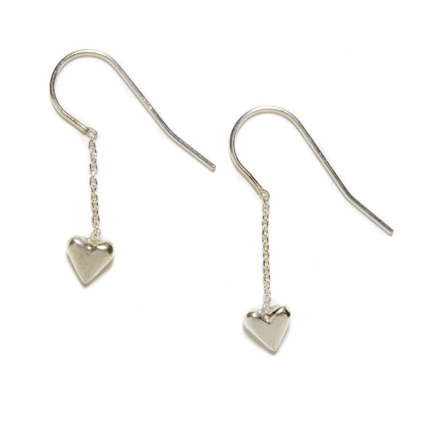 sterling silver puff heart dangling earrings