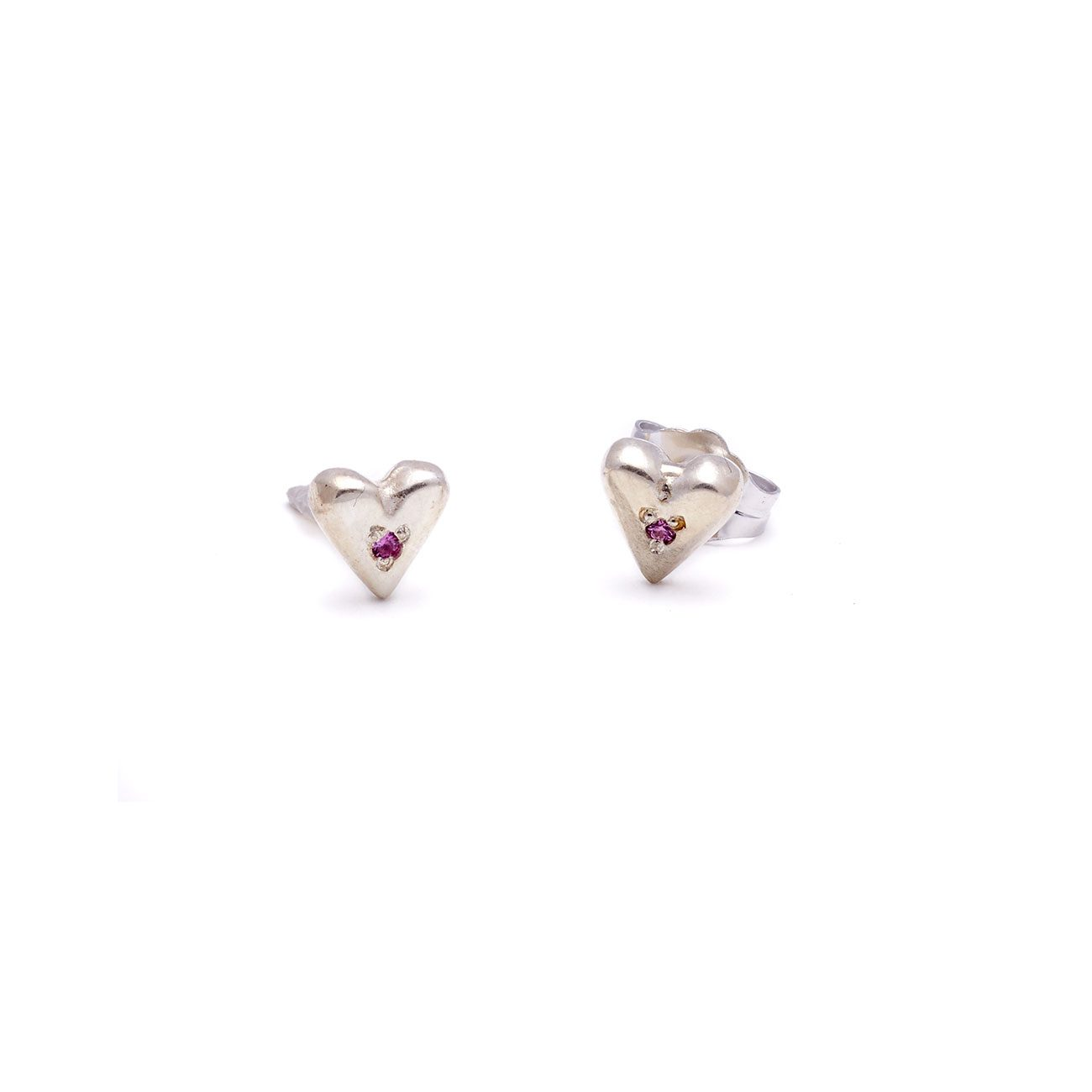 sterling silver puff heart studs