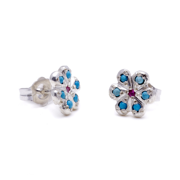 sterling silver turquoise pink sapphire daisy studs