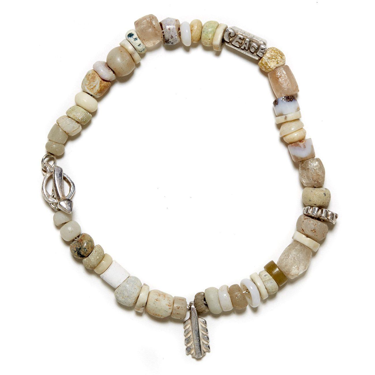 sterling silver white beaded bracelet
