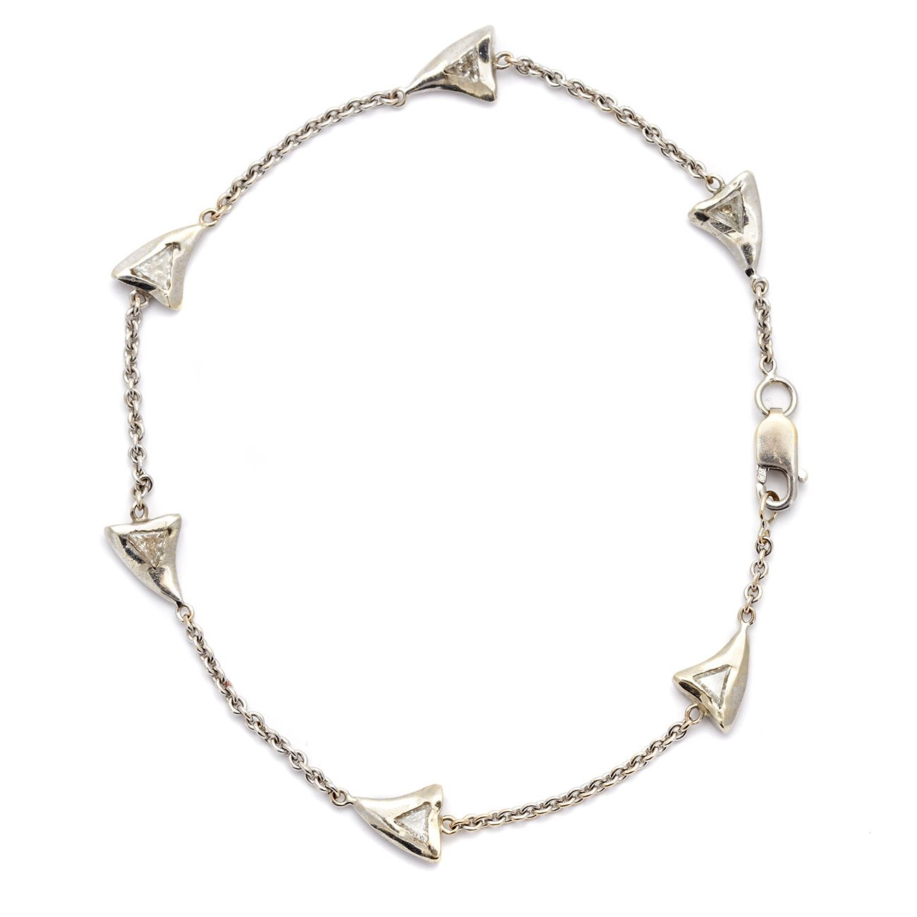 white gold baby shark tooth bracelet