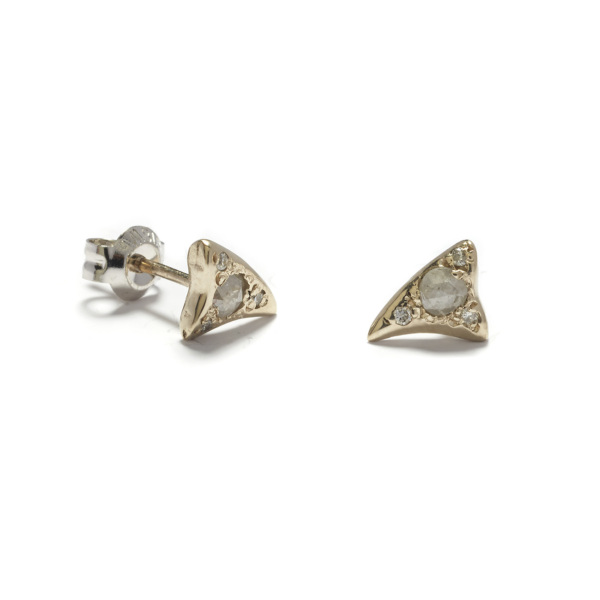 white gold baby shark tooth studs