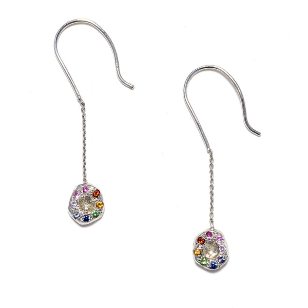 white gold rainbow dangling earrings