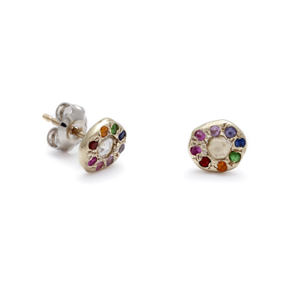 white gold rainbow disk studs