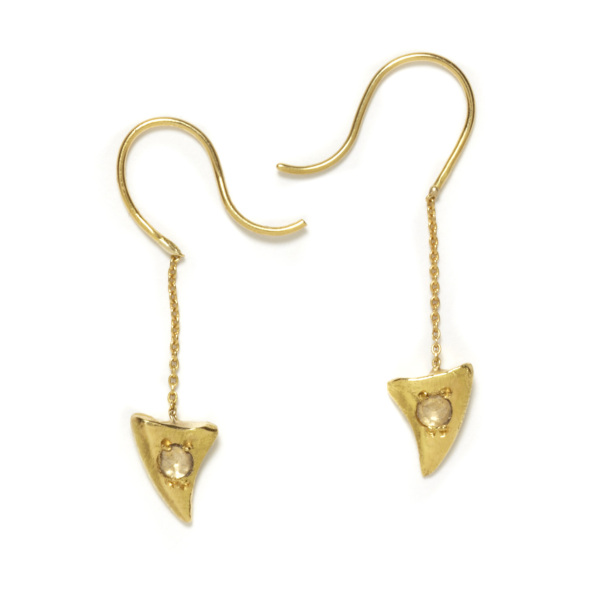 yellow gold baby shark tooth dangling earrings