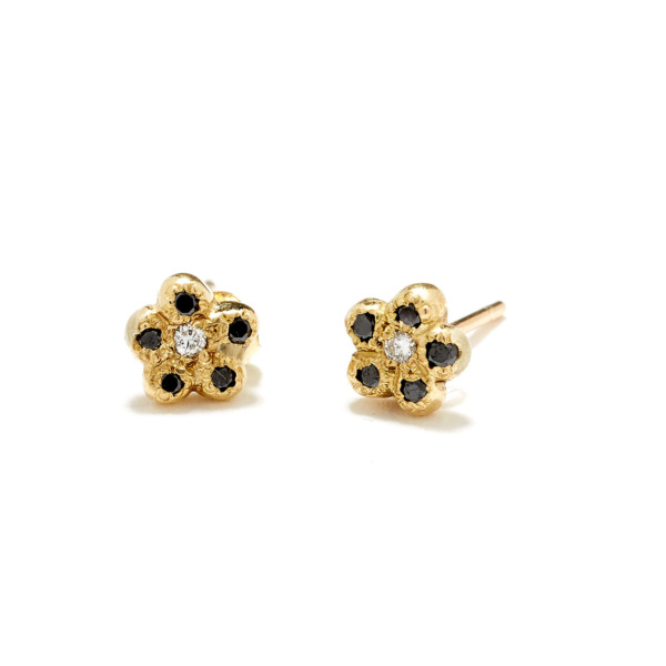 yellow gold black diamond newflower studs