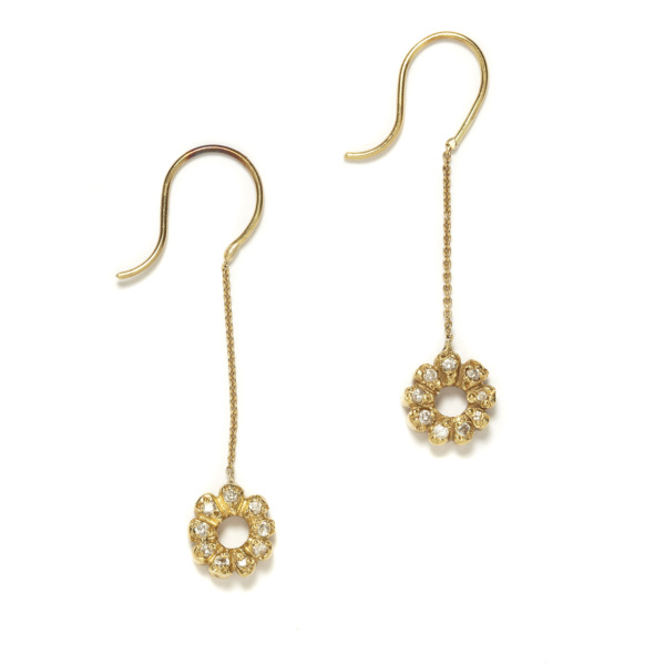 yellow gold flower child dangling earrings