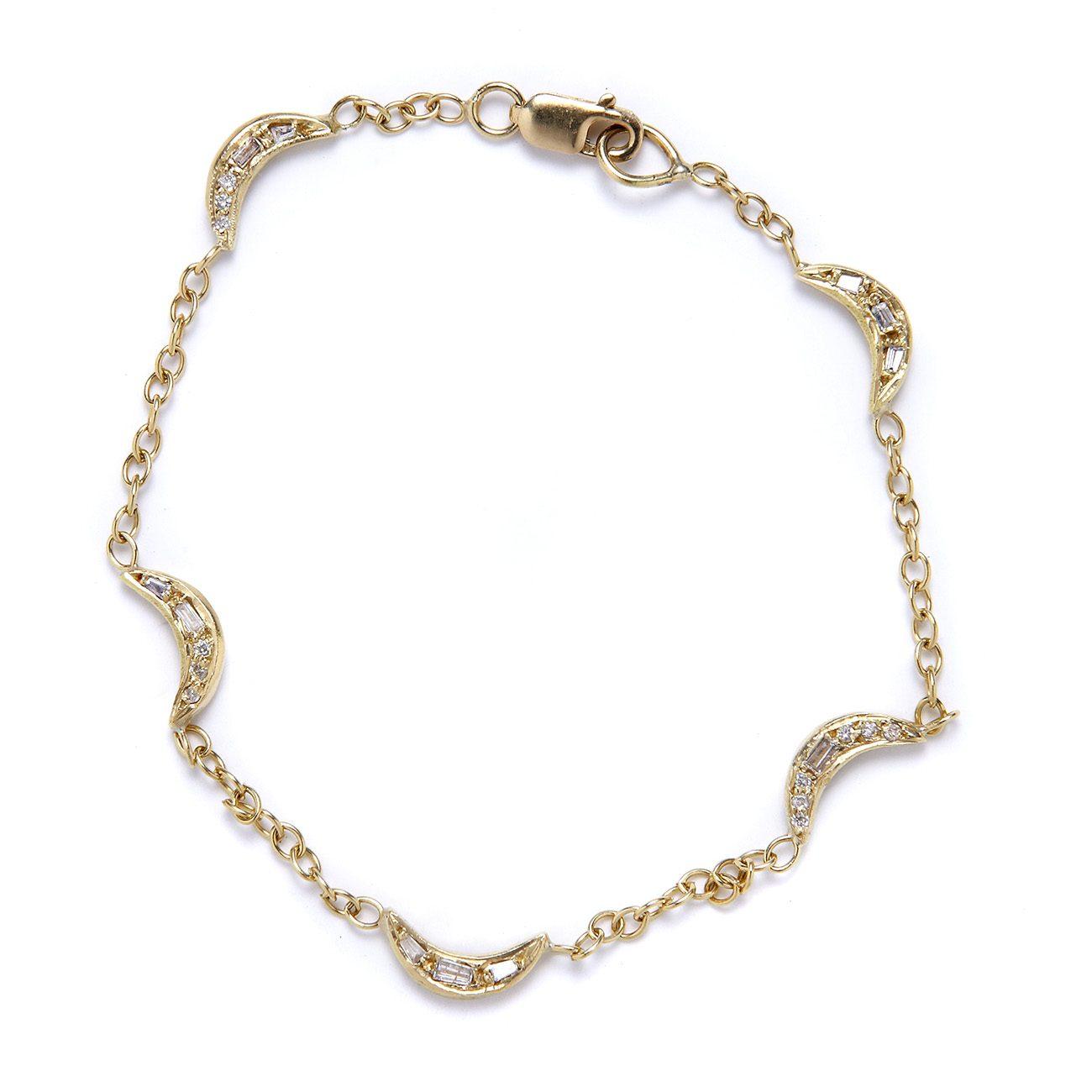 yellow gold mini moon bracelet