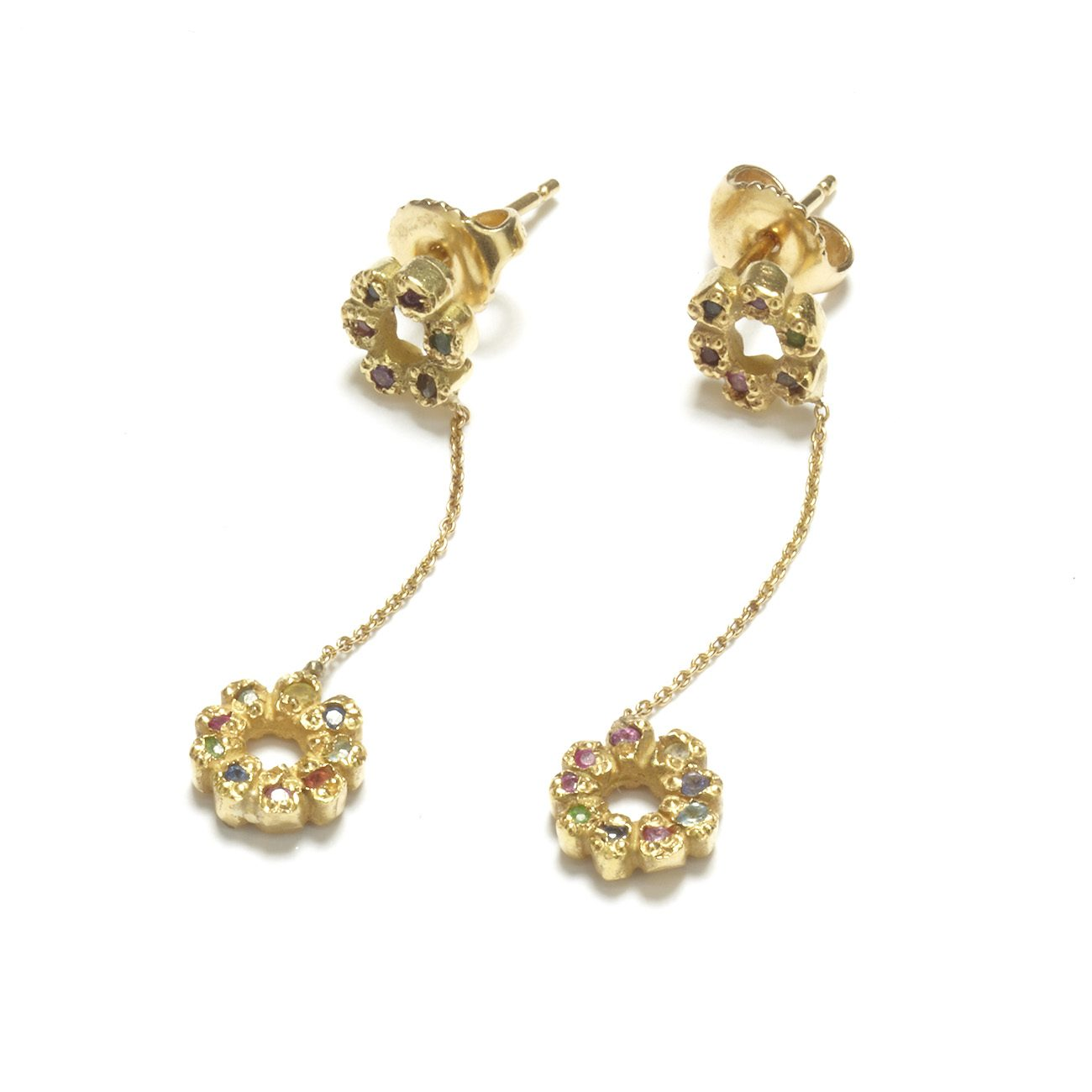Yellow Gold Multicolor Flower Child Dangling Earrings On