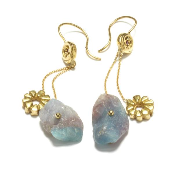 yellow gold paraiba chunk dangling earrings