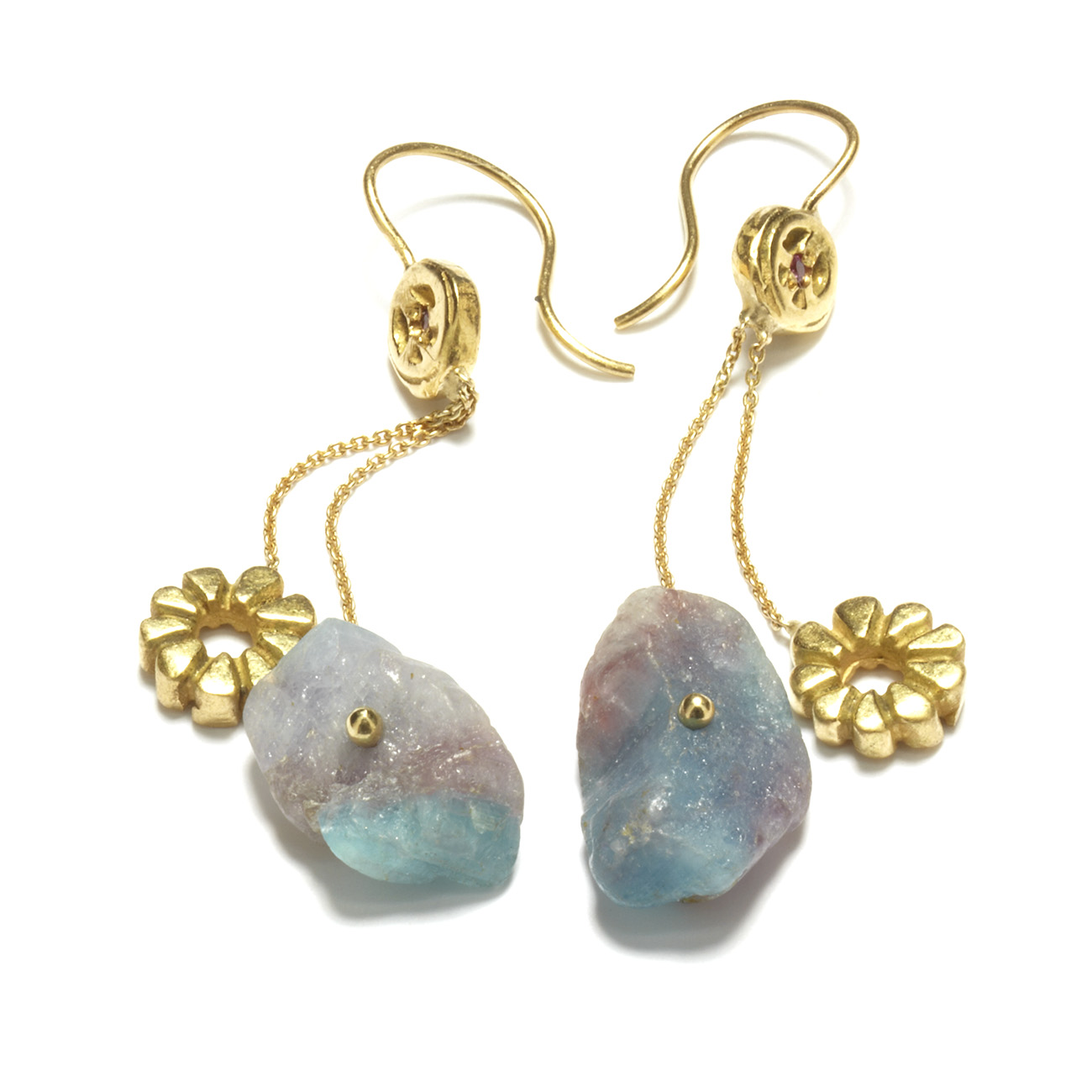 Yellow Gold Paraiba Chunk Dangling Earrings Elisa