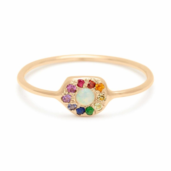 Yellow Gold Opal Rainbow Disk Ring