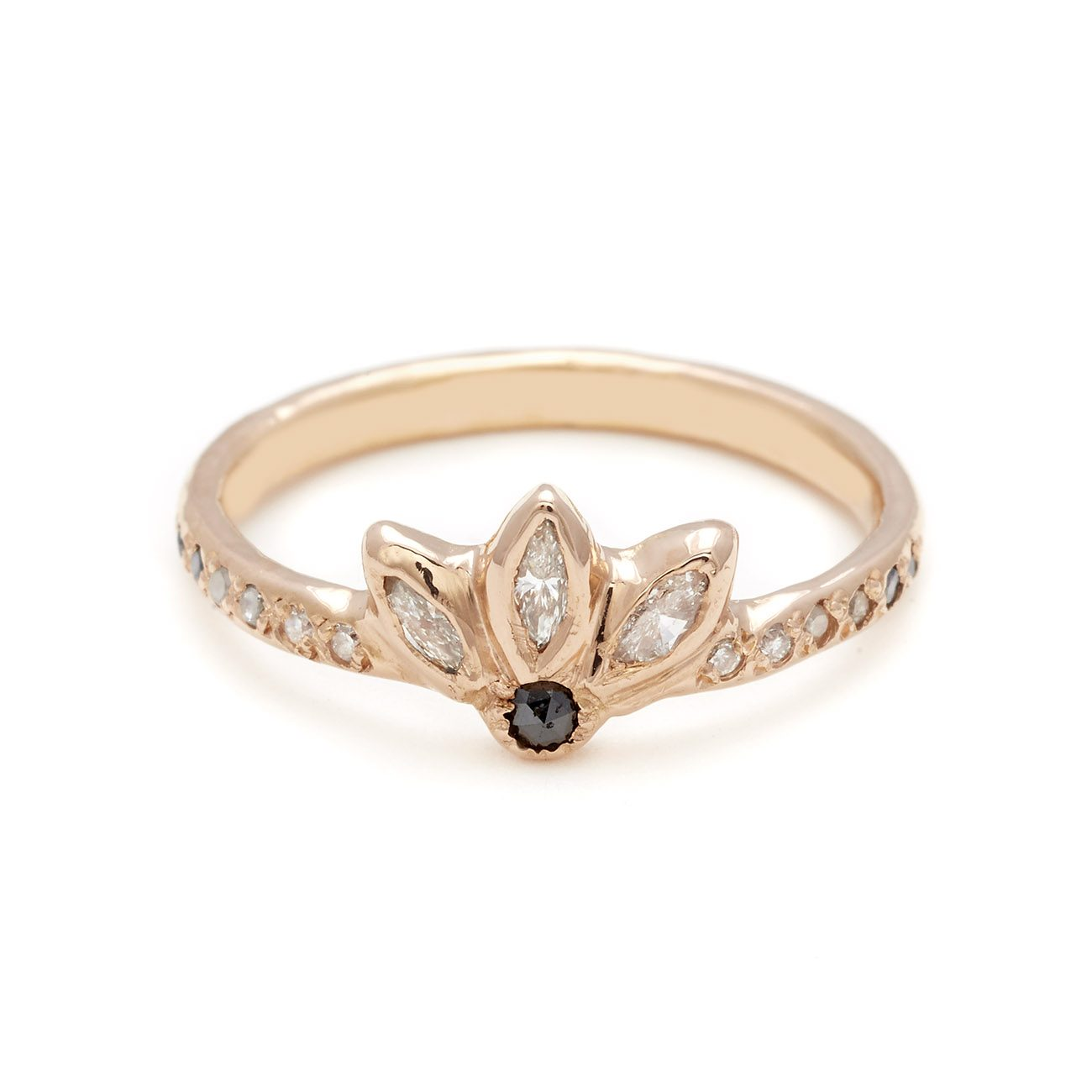 pink gold diamond magic flower ring