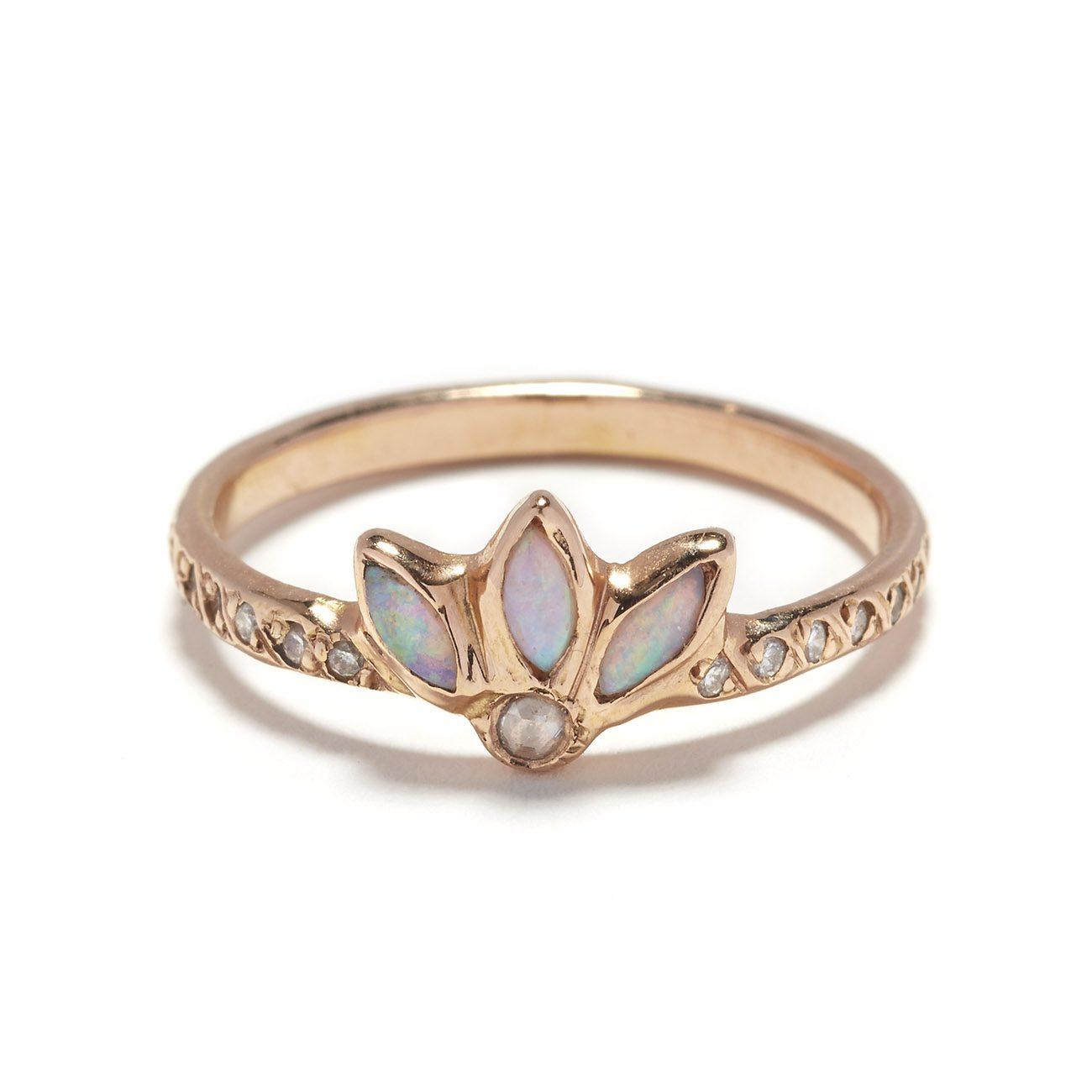 pink gold opal magic flower ring