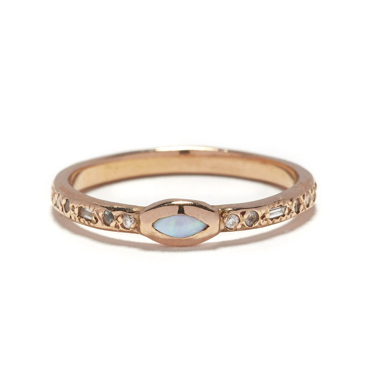 pink gold opal marquis band