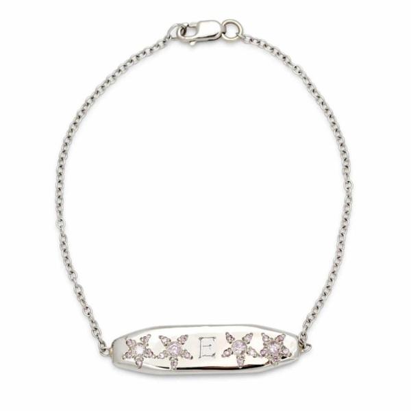platinum ID bracelet 1 bold letter engraved