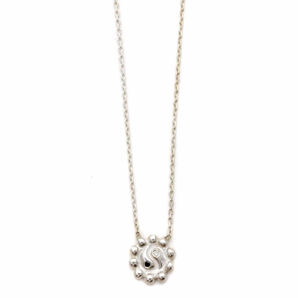 Silver Ying Yang Flower Necklace