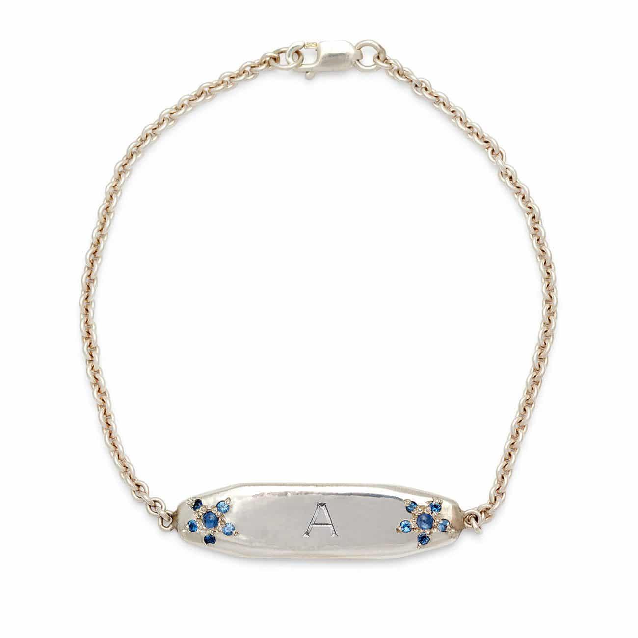 sterling silver ID bracelet 1 bold letter engraved
