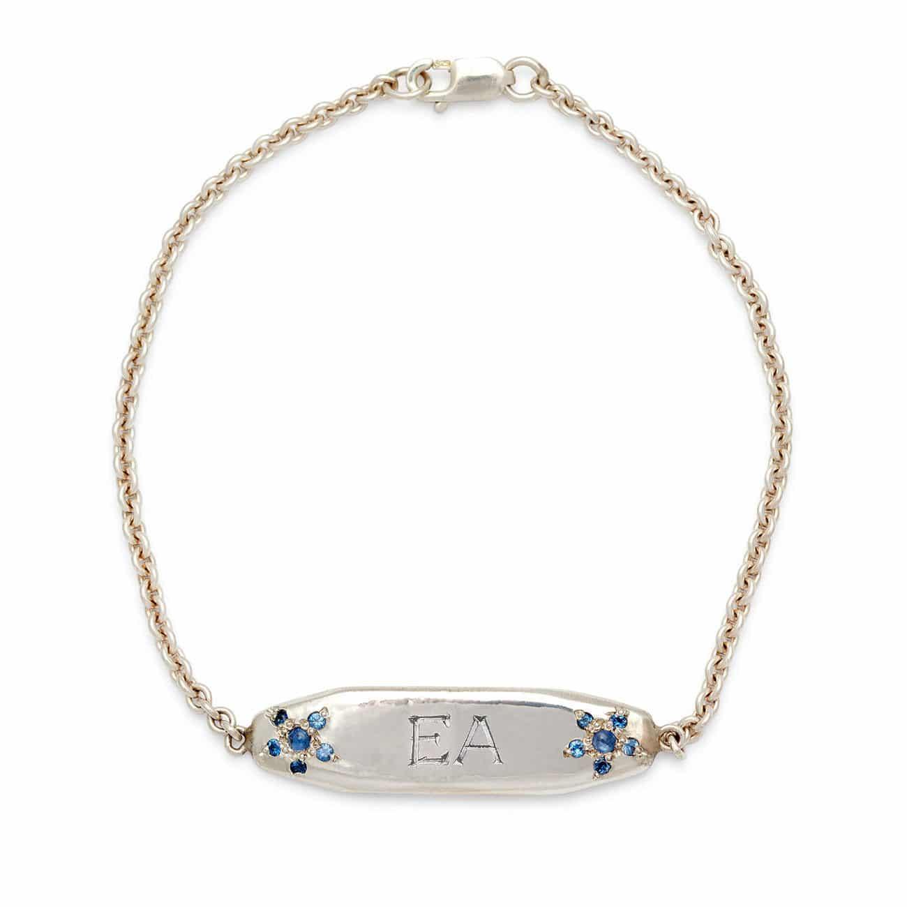 sterling silver ID bracelet 2 letter engraved
