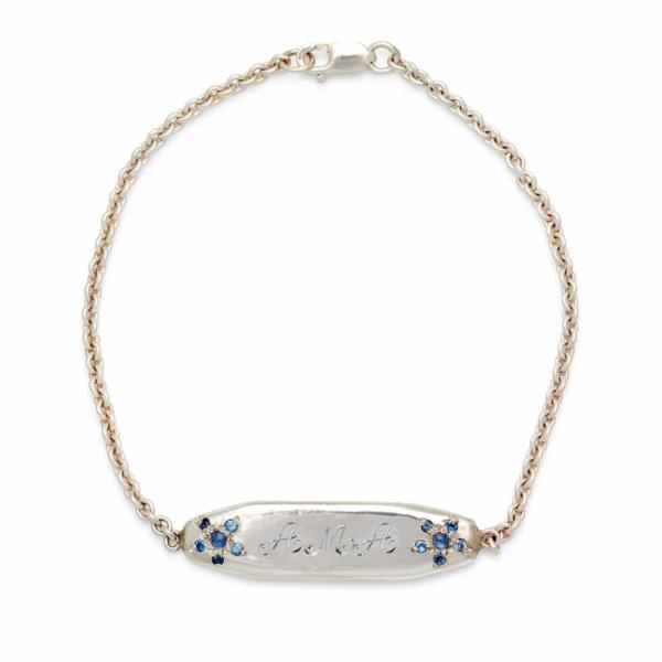 sterling silver ID bracelet 3 script letters engraved