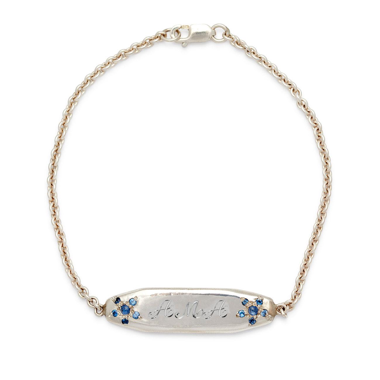 blue sapphire flower id bracelet elisa solomon jewelry. Black Bedroom Furniture Sets. Home Design Ideas