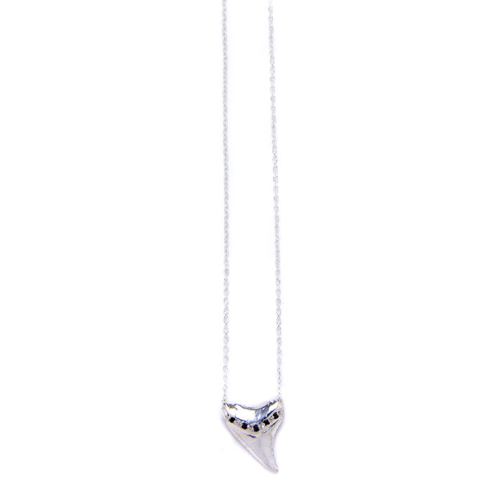 Elisa Solomon - Sterling Silver Black Diamond Shark Tooth Necklace