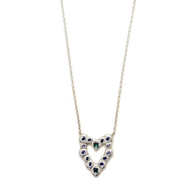 Elisa Solomon - Sterling Silver Cobblestone Heart Necklace