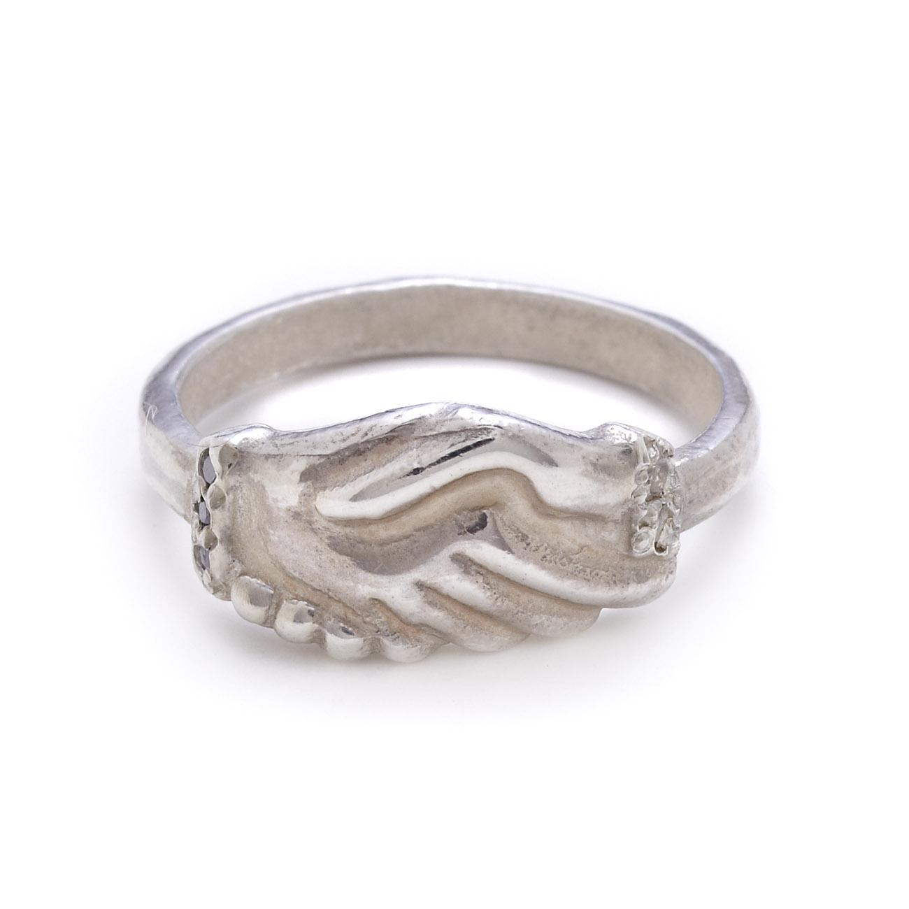 Sterling Silver Diamond Flower Ring