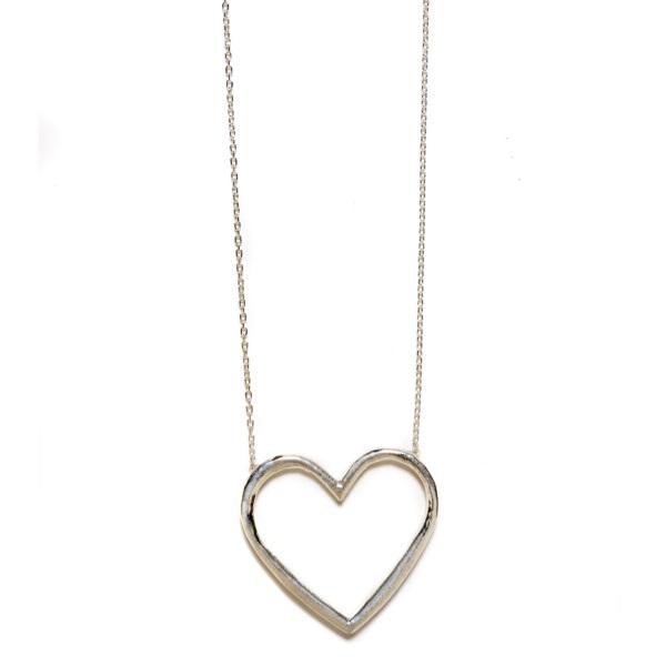 Elisa Solomon - Sterling Silver Large Open Heart Necklace