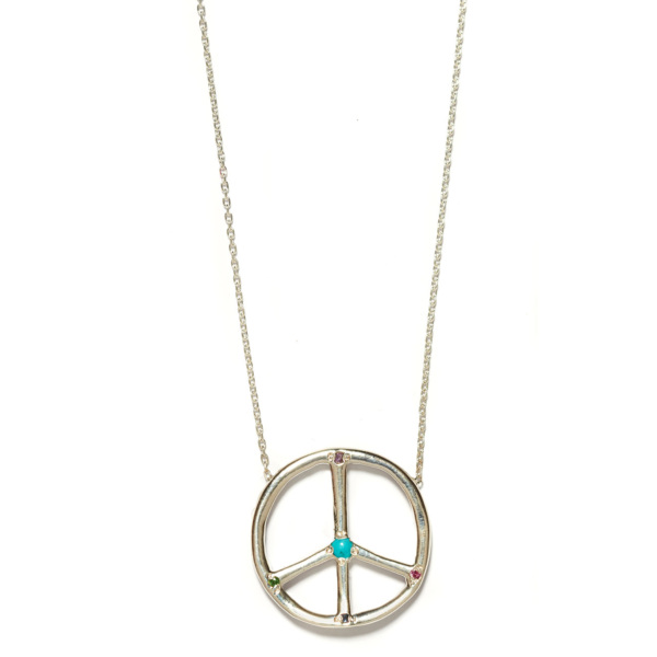 Elisa Solomon - Sterling Silver Large Peace Sign Necklace
