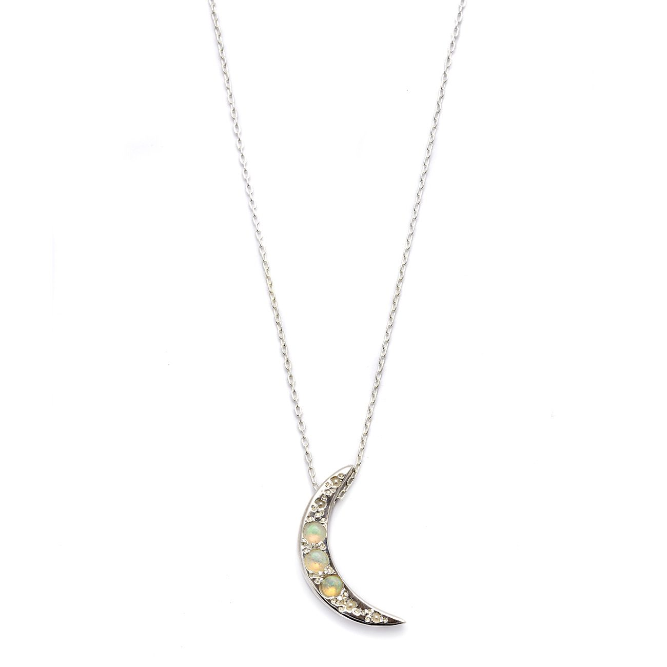 Elisa Solomon - Sterling Silver Moon Necklace With Opals