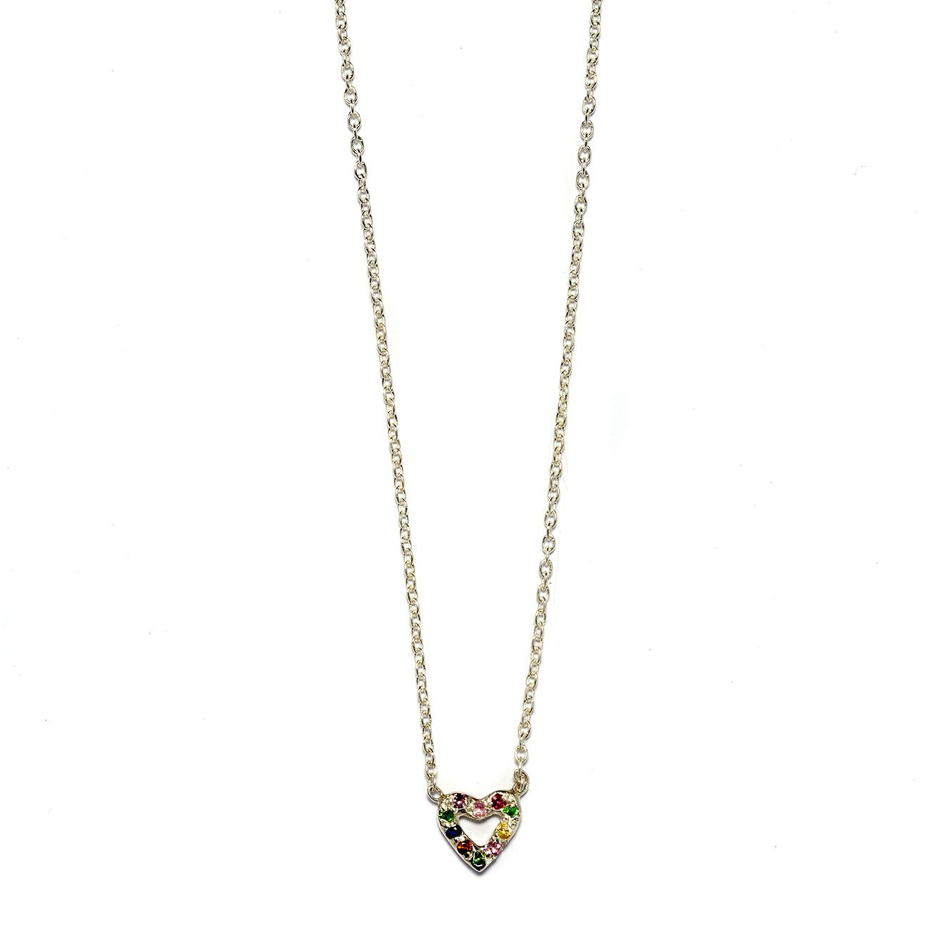 Elisa Solomon - Sterling Silver Multicolor Tiny Open Heart Necklace
