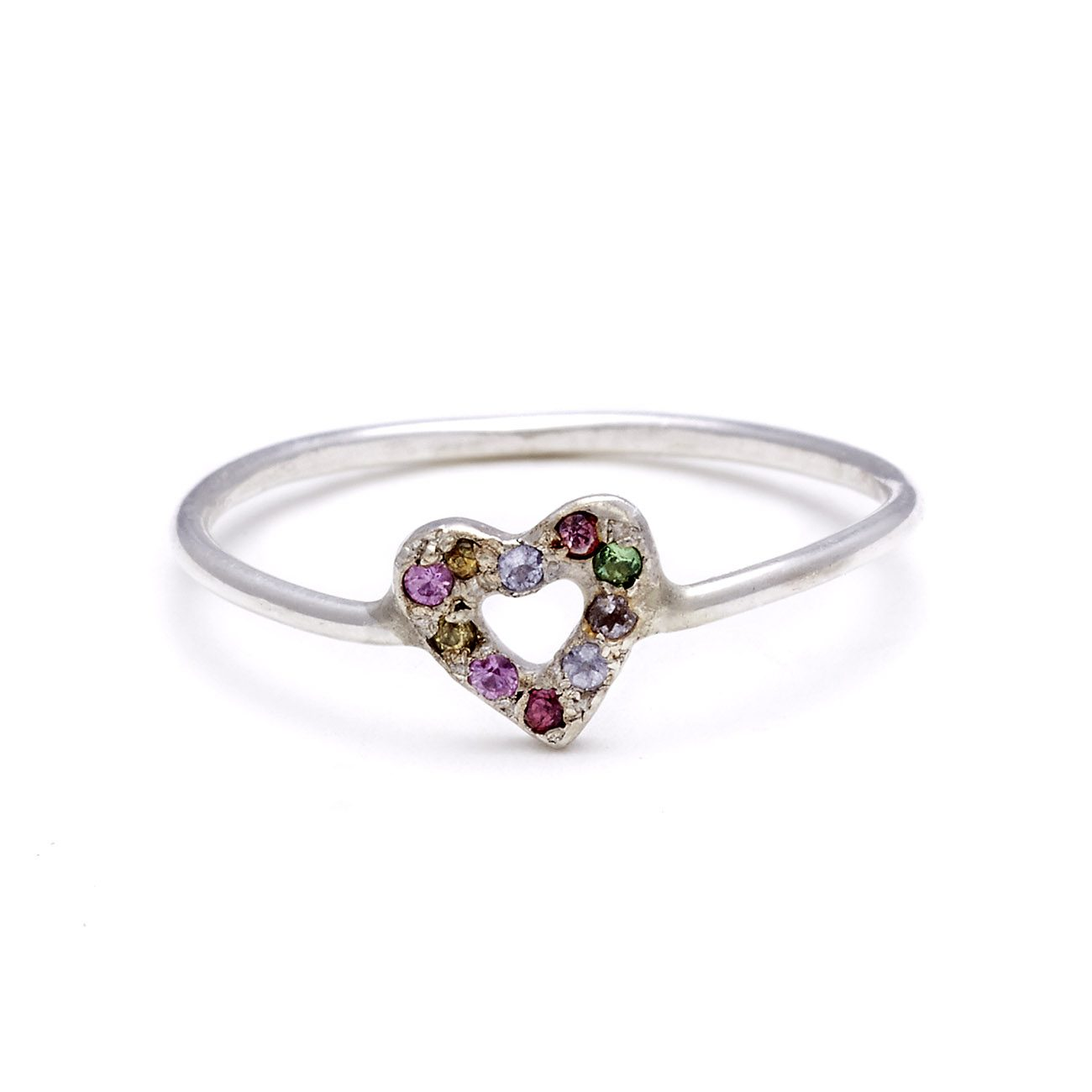 sterling silver multicolor tiny open heart ring