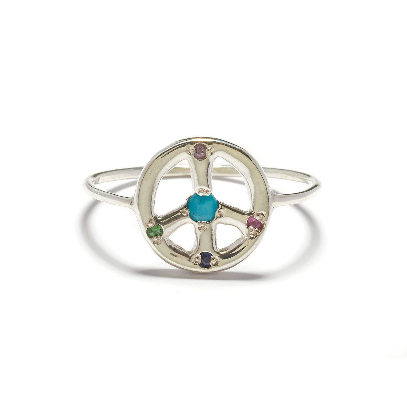 Turquoise Gem Peace Sign Ring Elisa Solomon Jewelry