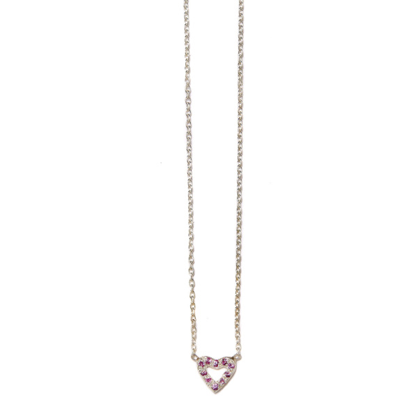 Elisa Solomon - Sterling Silver Pink Sapphire Tiny Open Heart Necklace