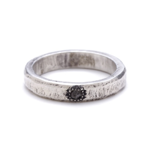 sterling silver rough diamond band