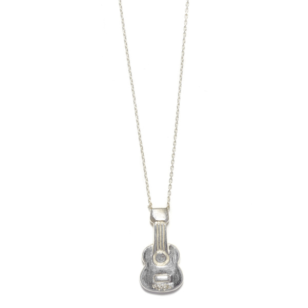 Elisa Solomon - Sterling Silver White Diamond Guitar Necklace