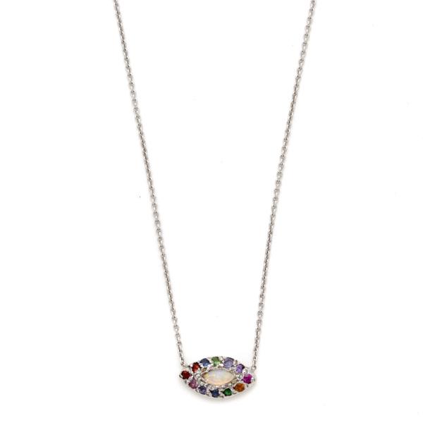Elisa Solomon - White Gold Marquis Eye Necklace