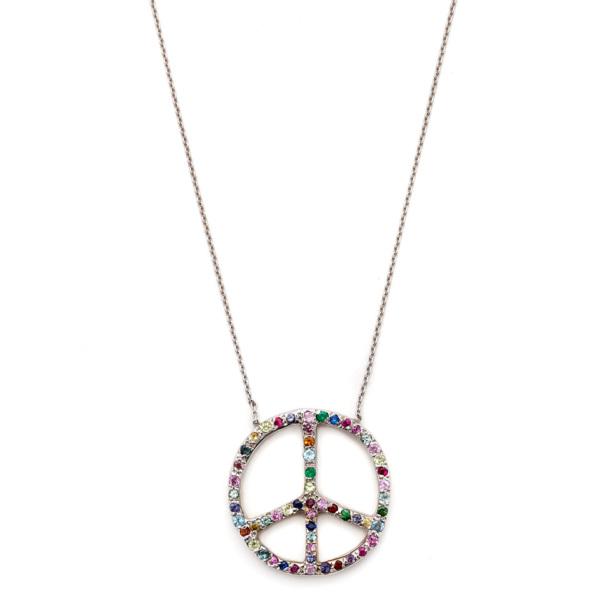 Elisa Solomon - White Gold Multicolor Large Peace Sign Necklace