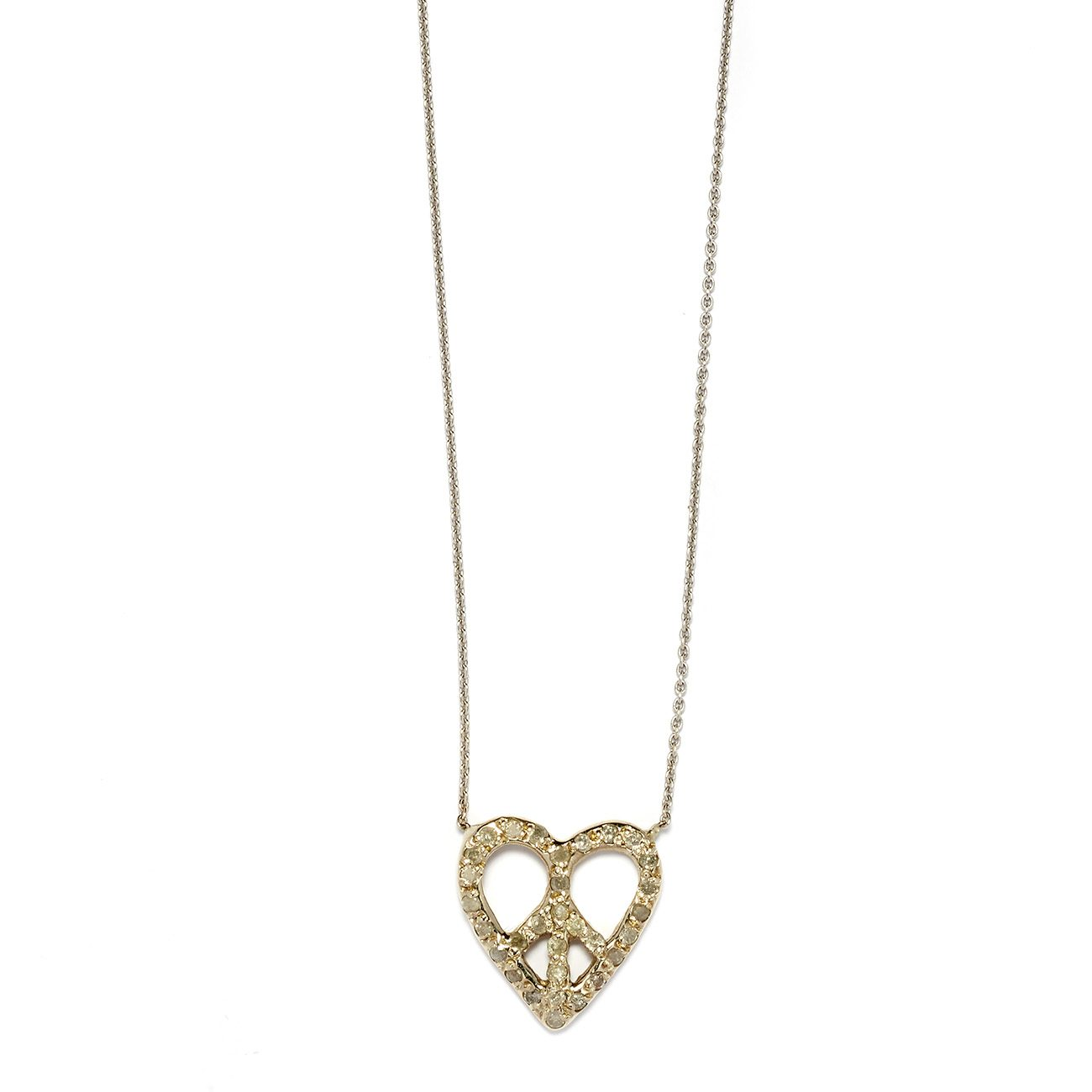 white gold peace heart necklace