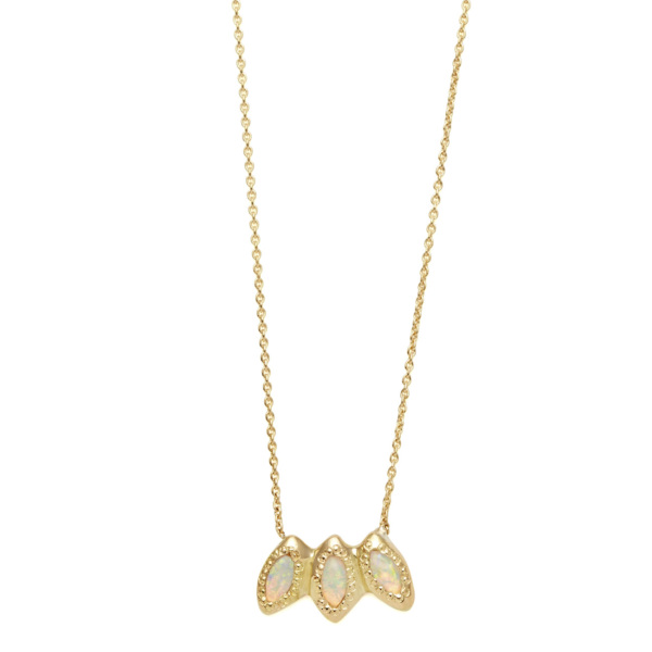 Elisa Solomon - Yellow Gold 3 Marquis Necklace